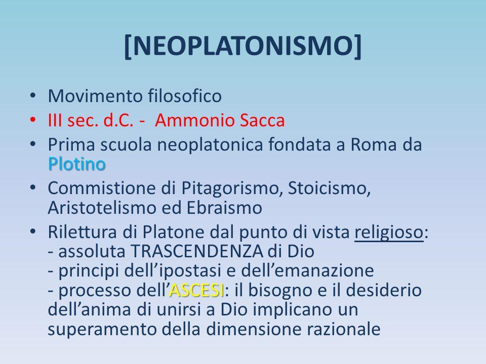 [NEOPLATONISMO] Movimento filosofico III sec. d.C. - Ammonio Sacca